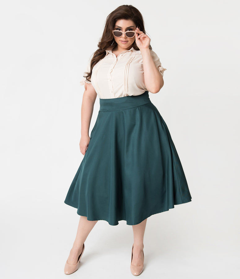 Unique Vintage Plus Size Retro Style Forest Green High Waist Vivien Swing Skirt