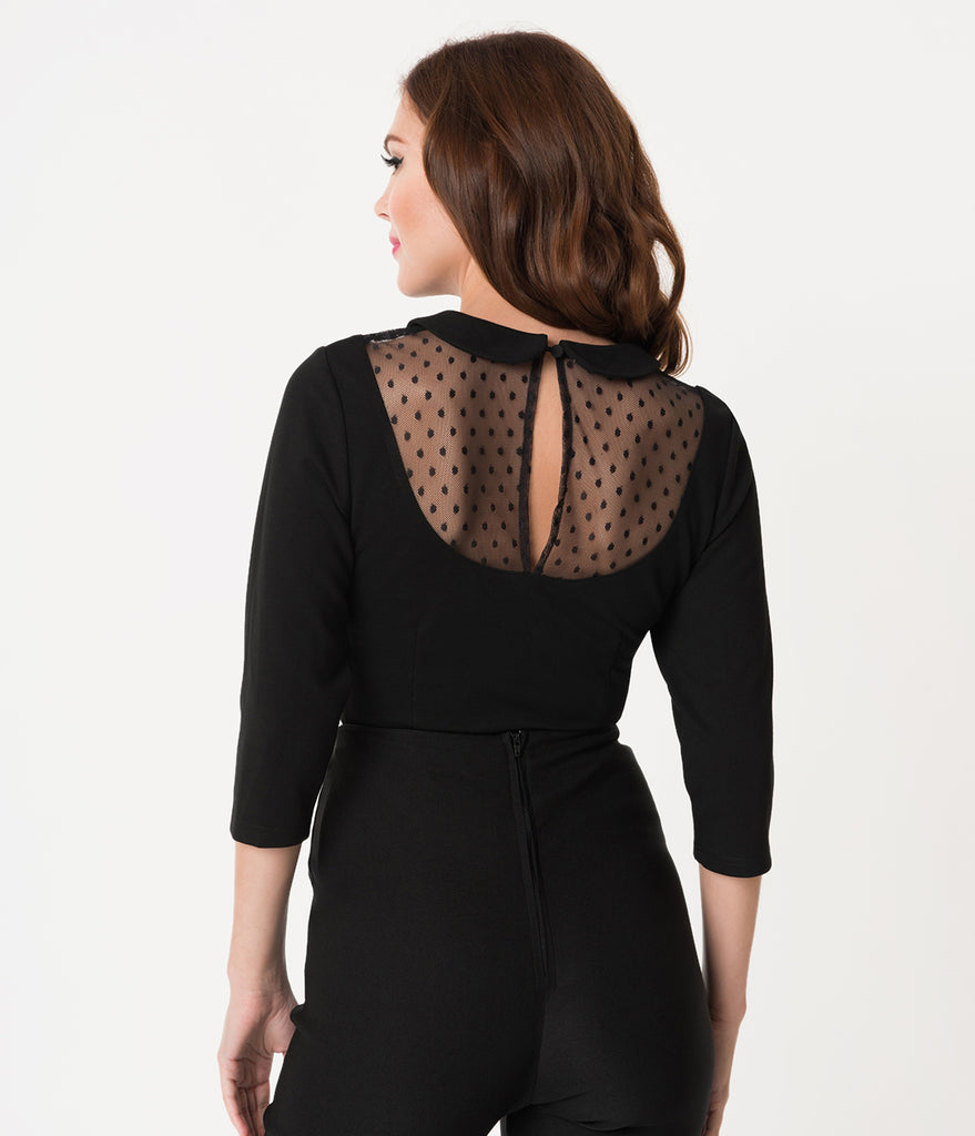Unique Vintage Black Mesh & Swiss Dot Stretch Knit Fitz Top
