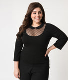 Unique Vintage Plus Size Black Mesh & Swiss Dot Stretch Knit Fitz Top