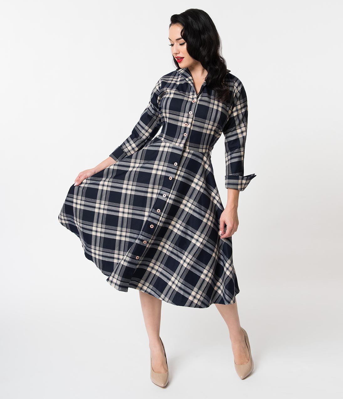 1950s Swing Dresses | 50s Swing Dress Unique Vintage 1950S Style Navy Blue Plaid Sleeved Brooklyn Shirtdress $118.00 AT vintagedancer.com