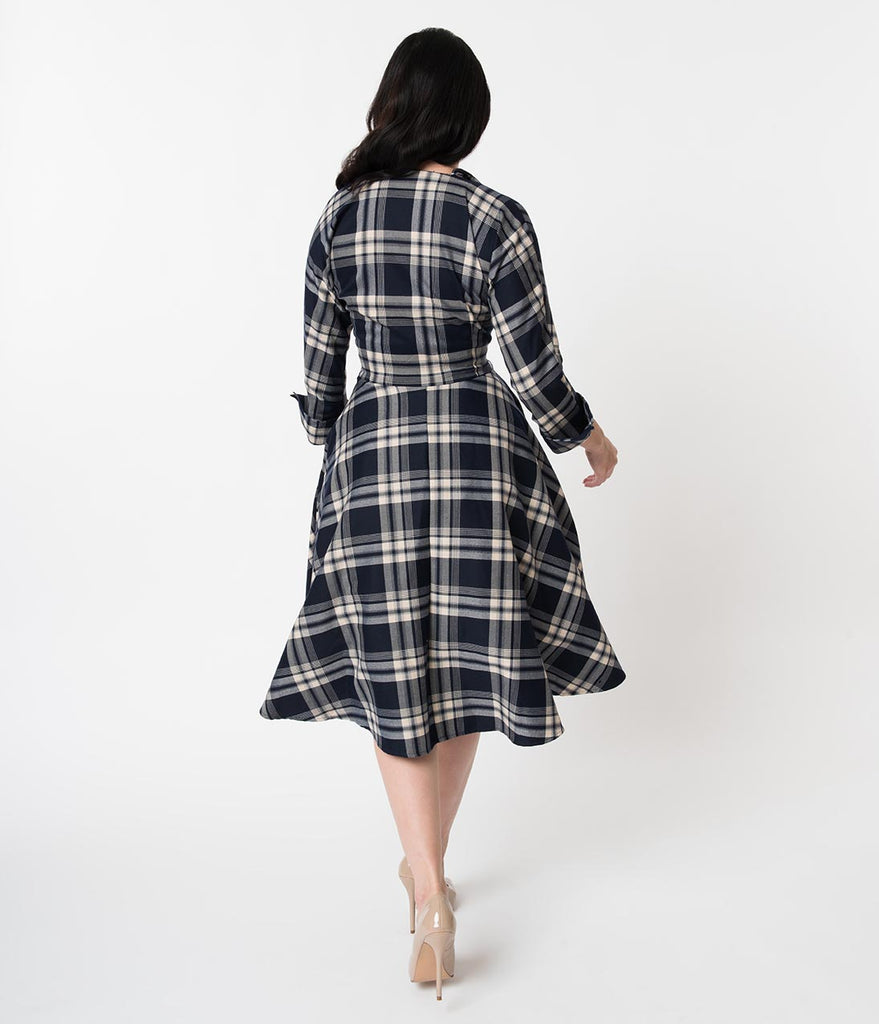 Unique Vintage 1950s Style Navy Blue Plaid Sleeved Brooklyn Shirtdress