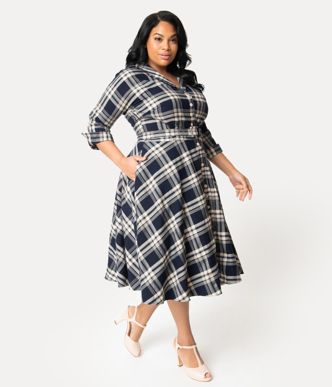 1940s Plus Size Fashion: Style Advice from 1940s to Today Unique Vintage Plus Size 1950S Style Navy Blue Plaid Sleeved Brooklyn Shirtdress $89.00 AT vintagedancer.com