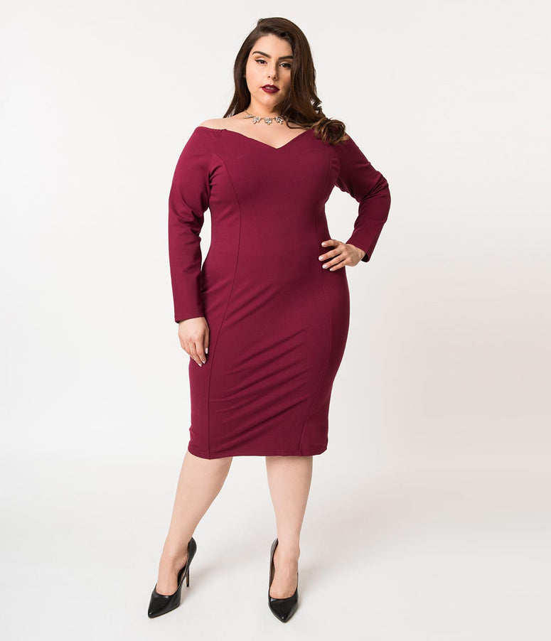 Unique Vintage Plus Size 1960s Burgundy Cotton Stretch Long Sleeved Cape Cod Wiggle Dress