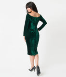 Unique Vintage 1960s Emerald Green Velvet Long Sleeved Cape Cod Wiggle Dress