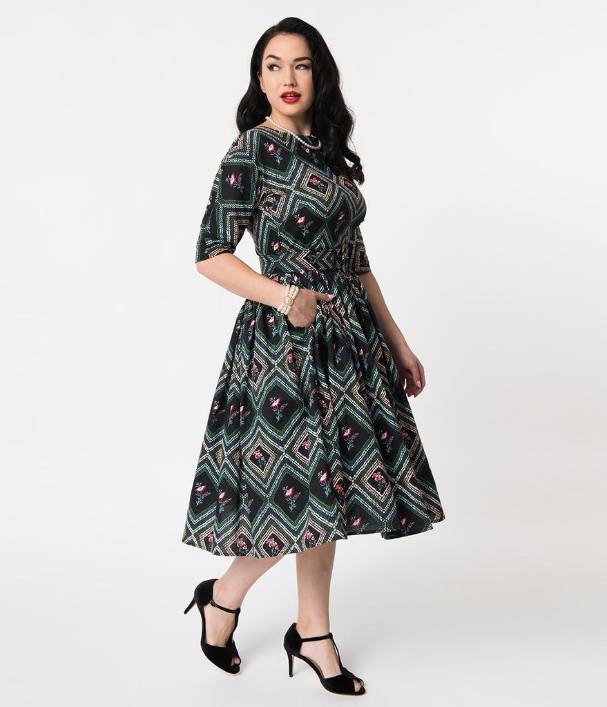 Unique Vintage 1950s Style Black & Green Diamond Print Sleeved Sally Swing Dress