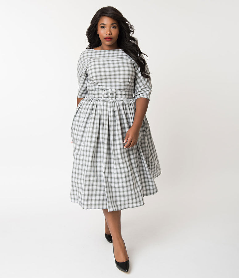 Unique Vintage Plus Size 1940s Style Grey & White Plaid Sleeved Sally Swing Dress