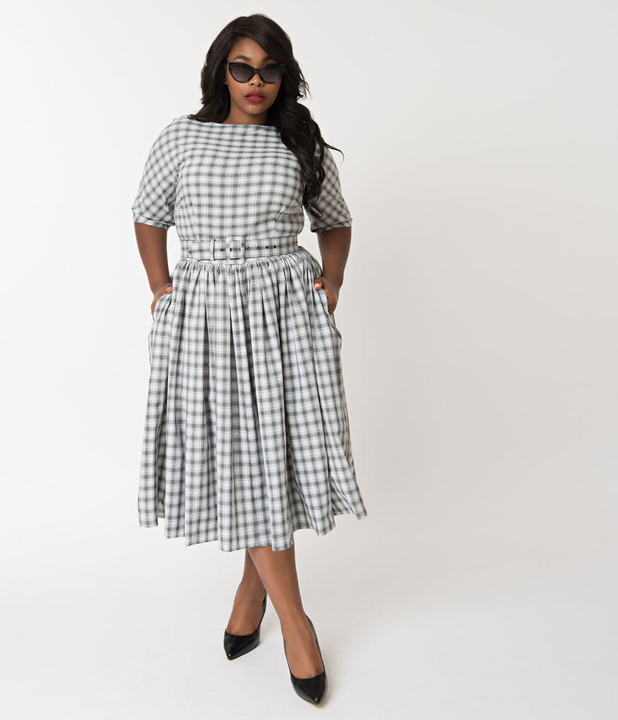 421390a0686f ... Unique Vintage Plus Size 1940s Style Grey   White Plaid Sleeved Sally  Swing Dress ...