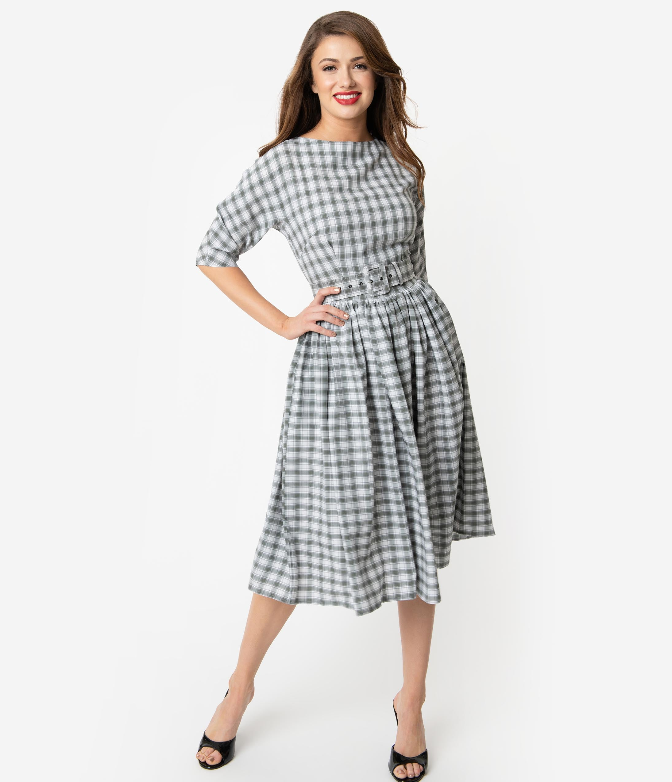 Vintage Tea Dresses, Floral Tea Dresses, Tea Length Dresses Unique Vintage 1940S Style Grey  White Plaid Sleeved Sally Swing Dress $61.00 AT vintagedancer.com
