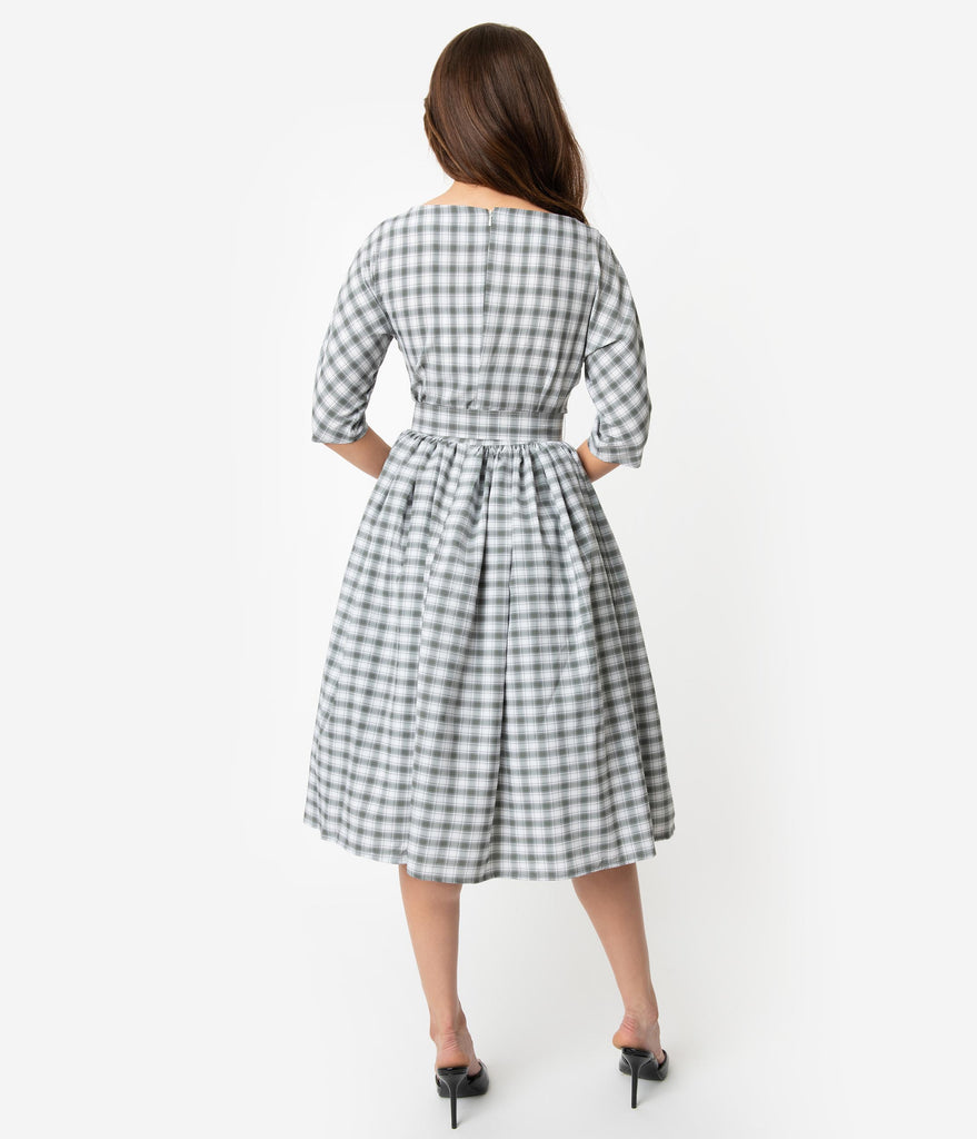 a3548db83bd3 ... Unique Vintage 1940s Style Grey   White Plaid Sleeved Sally Swing Dress  ...