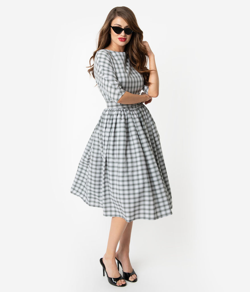 a46117274d30 Unique Vintage 1940s Style Grey   White Plaid Sleeved Sally Swing Dres