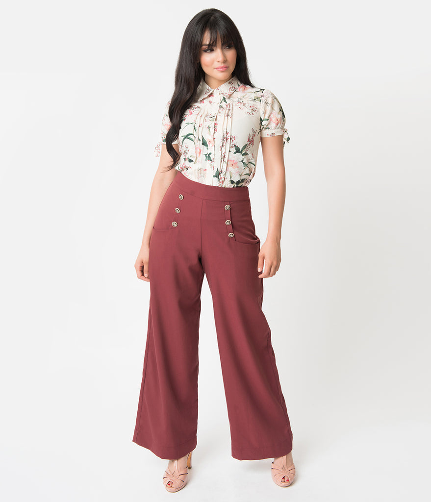 Unique Vintage 1940s Style Dusty Burgundy High Waist Sailor Ginger Pants