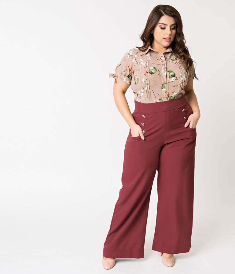 Unique Vintage Plus Size 1940s Style Dusty Burgundy High Waist Sailor Ginger Pants