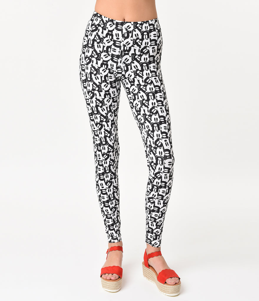 Black & White Mickey Mouse Face Print Cotton Stretch Leggings