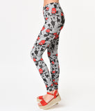 Grey & Red Mickey Mouse Print Cotton Stretch Leggings