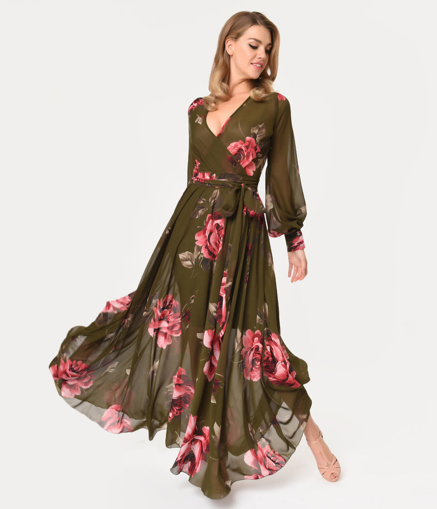Vintage Style Olive Green & Pink Roses Long Sleeve Maxi Dress