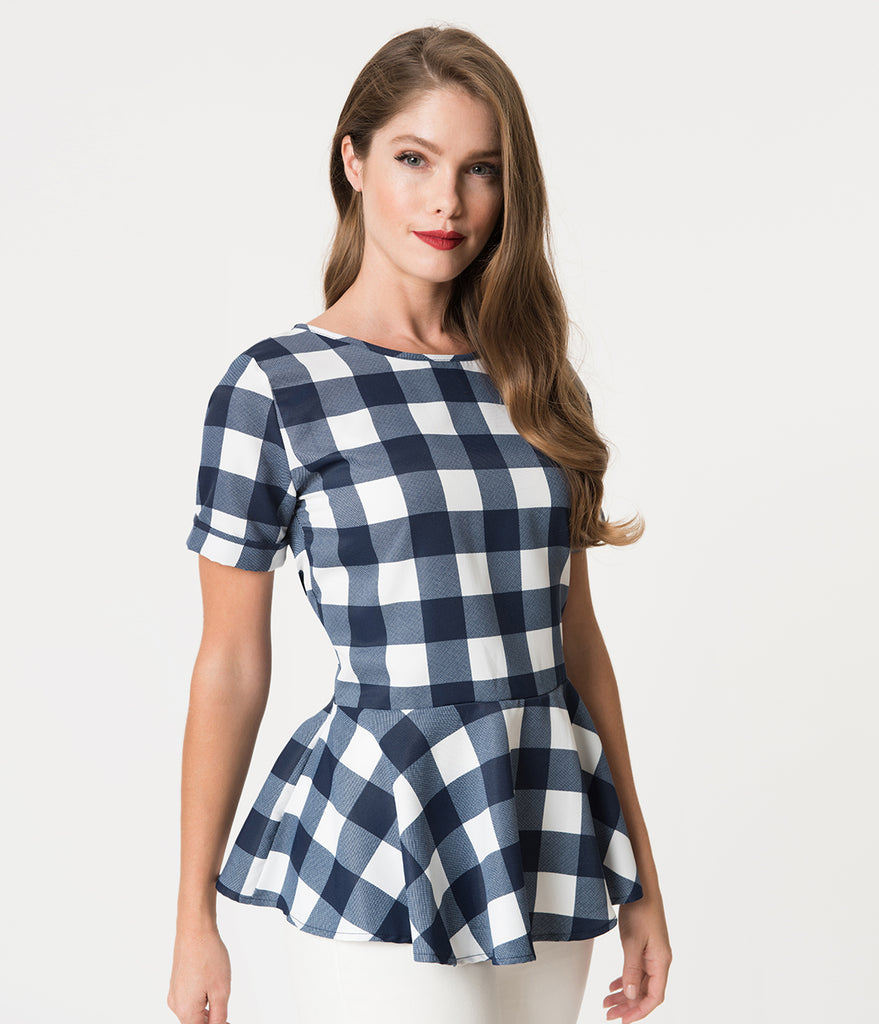 Navy & White Checkered Print Peplum Short Sleeve Blouse