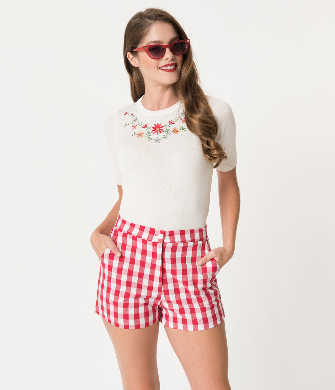 Vintage High Waisted Shorts | 1950s Pinup, Rockabilly Shorts Retro Style Red  White Gingham High Waisted Cotton Shorts $32.00 AT vintagedancer.com