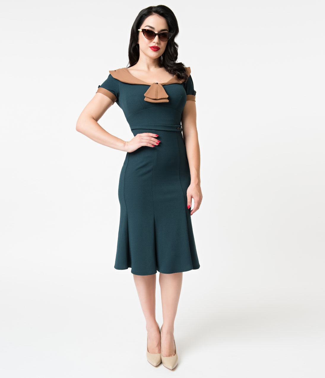 1930s Dresses | 30s Art Deco Dress Stop Staring 1940S Style Forest Green  Brown Army Girl Wiggle Dress $172.00 AT vintagedancer.com