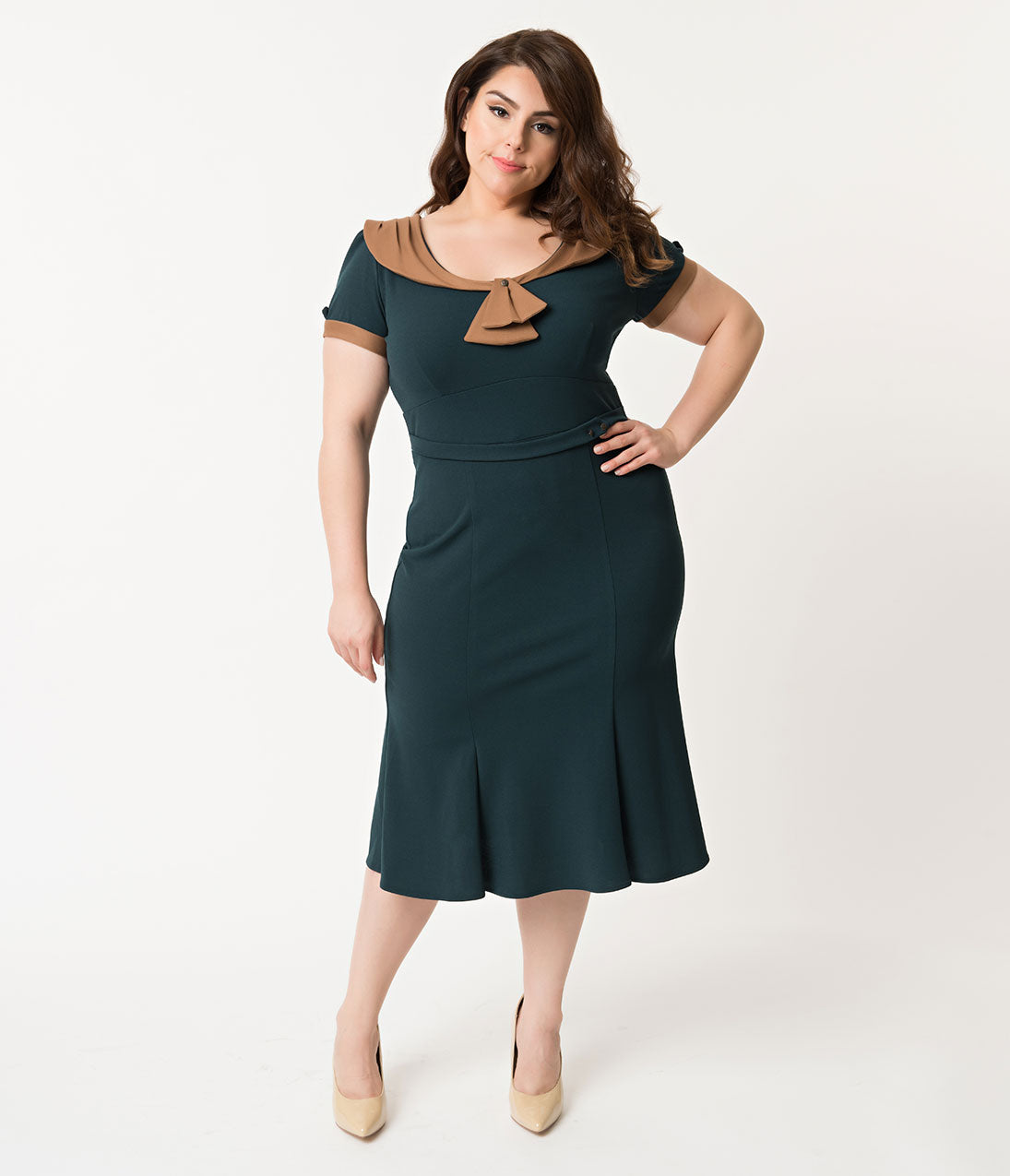1940s Plus Size Fashion: Style Advice from 1940s to Today Stop Staring Plus Size 1940S Style Forest Green  Brown Army Girl Wiggle Dress $99.00 AT vintagedancer.com