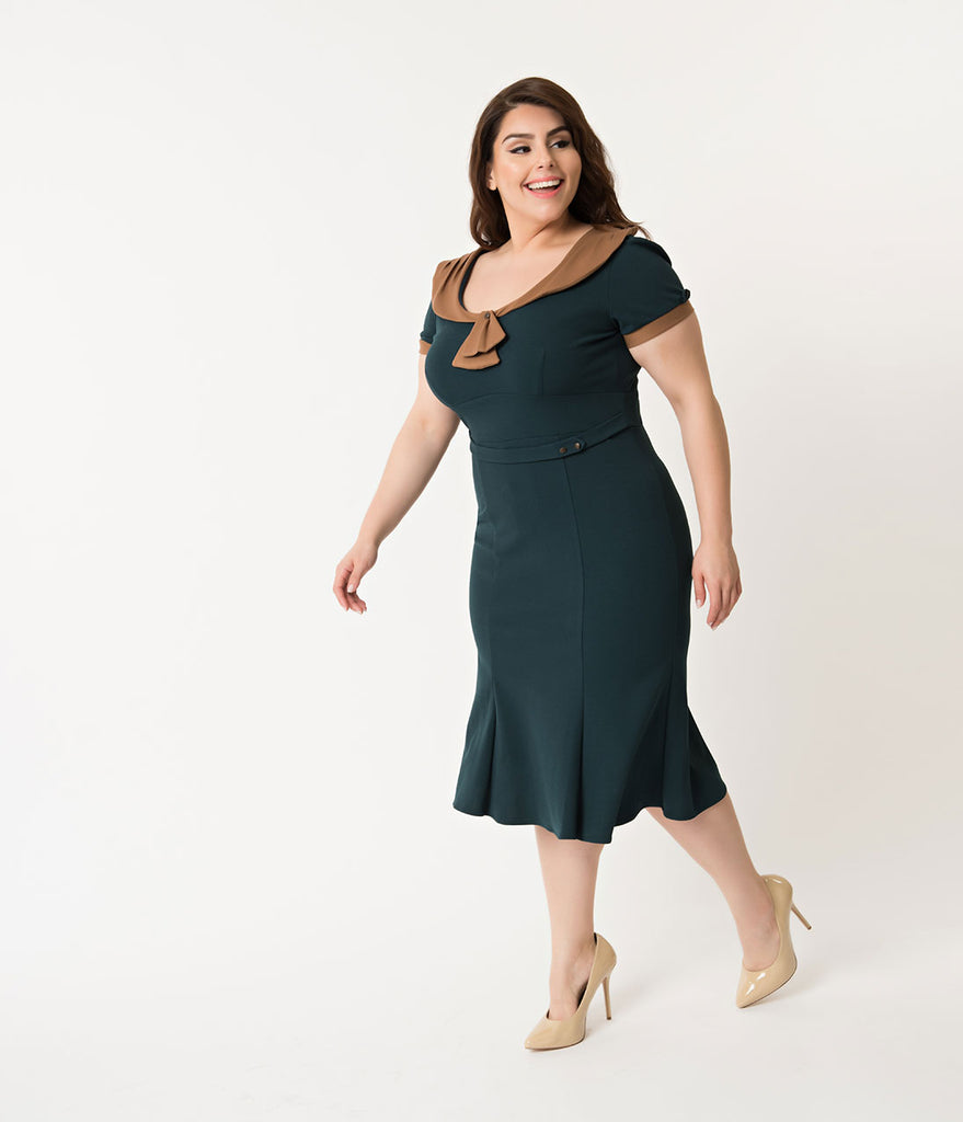 Stop Staring! Plus Size 1940s Style Forest Green & Brown Army Girl Wiggle Dress