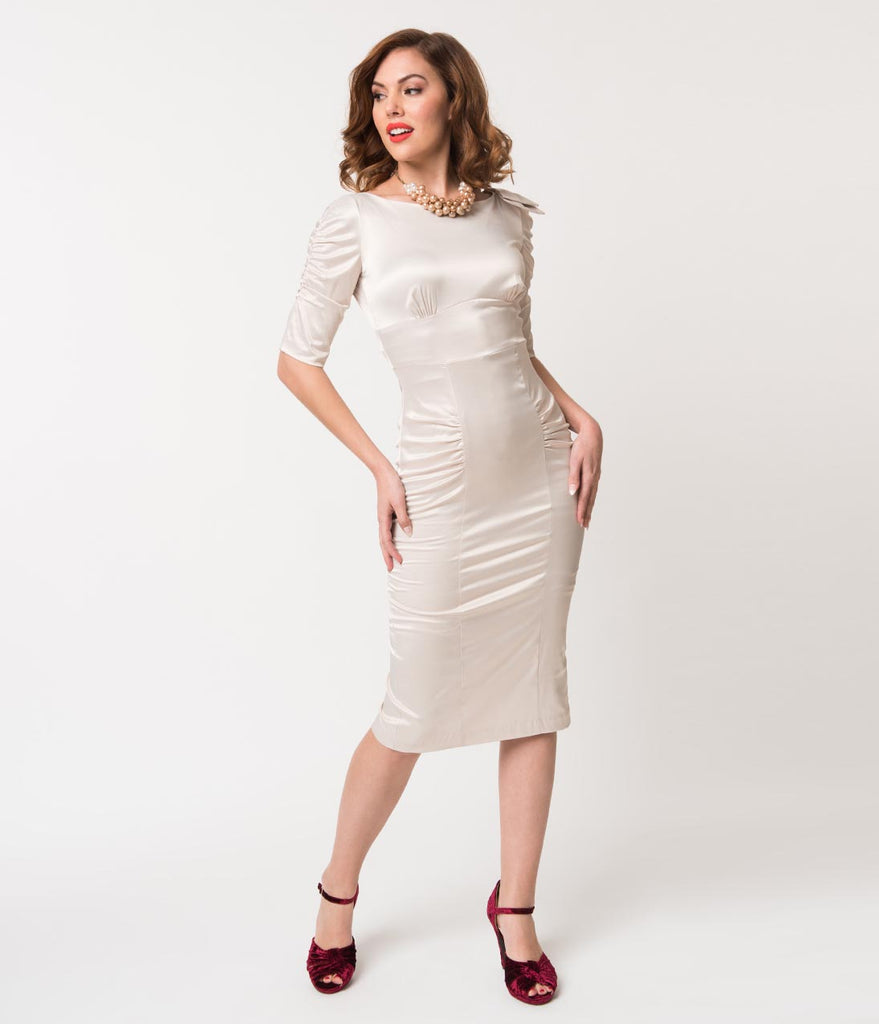 Stop Staring! 1940s Ivory Satin Casablanca Cocktail Wiggle Dress