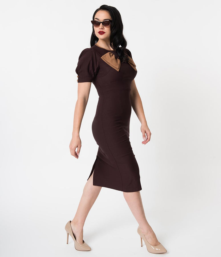 Stop Staring! 1940s Style Chocolate Brown Short Sleeve Penny Wiggle Dress