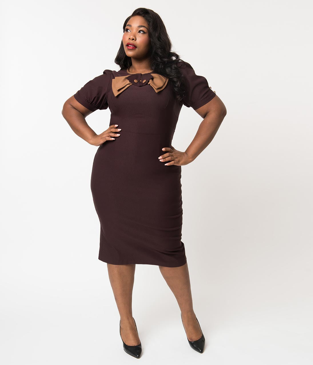 1940s Plus Size Dresses | Swing Dress, Tea Dress Stop Staring Plus Size 1940S Style Chocolate Brown Short Sleeve Penny Wiggle Dress $99.00 AT vintagedancer.com