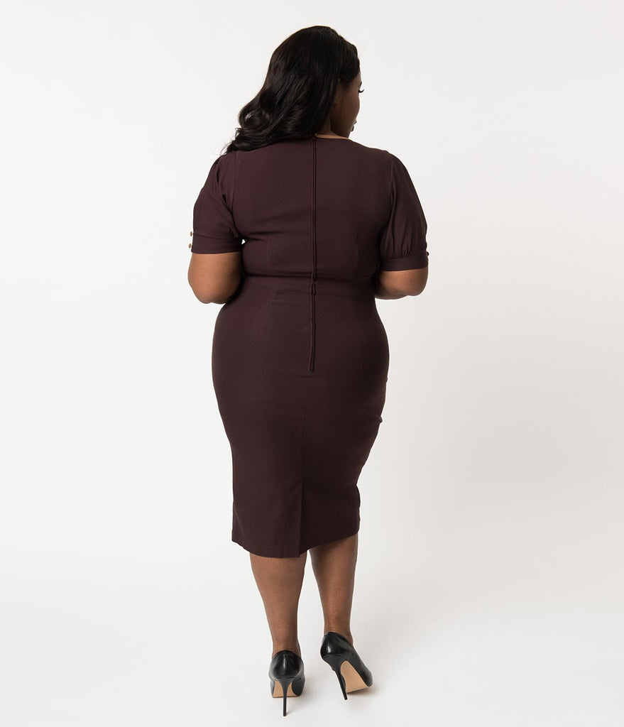 0dac20252a3 Plus Size 1940s Style Chocolate Brown Short Sleeve Penny Wiggle Dress ...