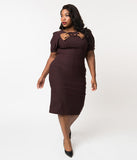 Stop Staring! Plus Size 1940s Style Chocolate Brown Short Sleeve Penny Wiggle Dress