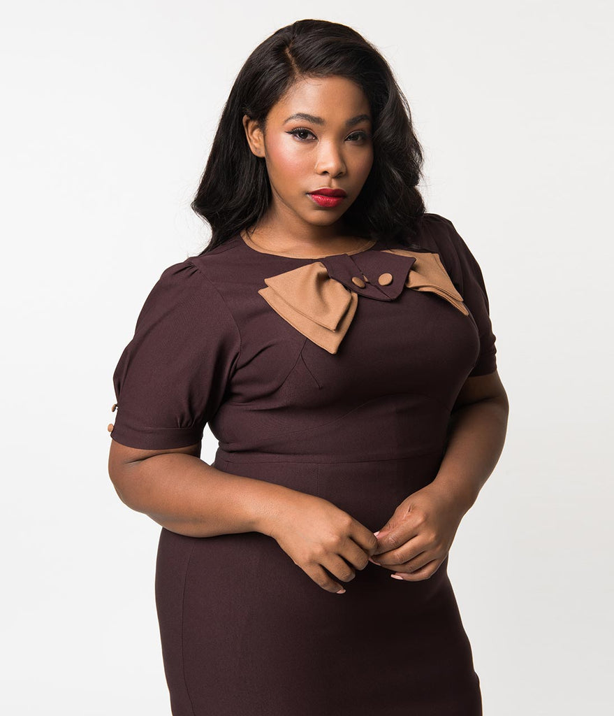 daae640dfd4 Plus Size 1940s Style Chocolate Brown Short Sleeve Penny Wiggle Dress