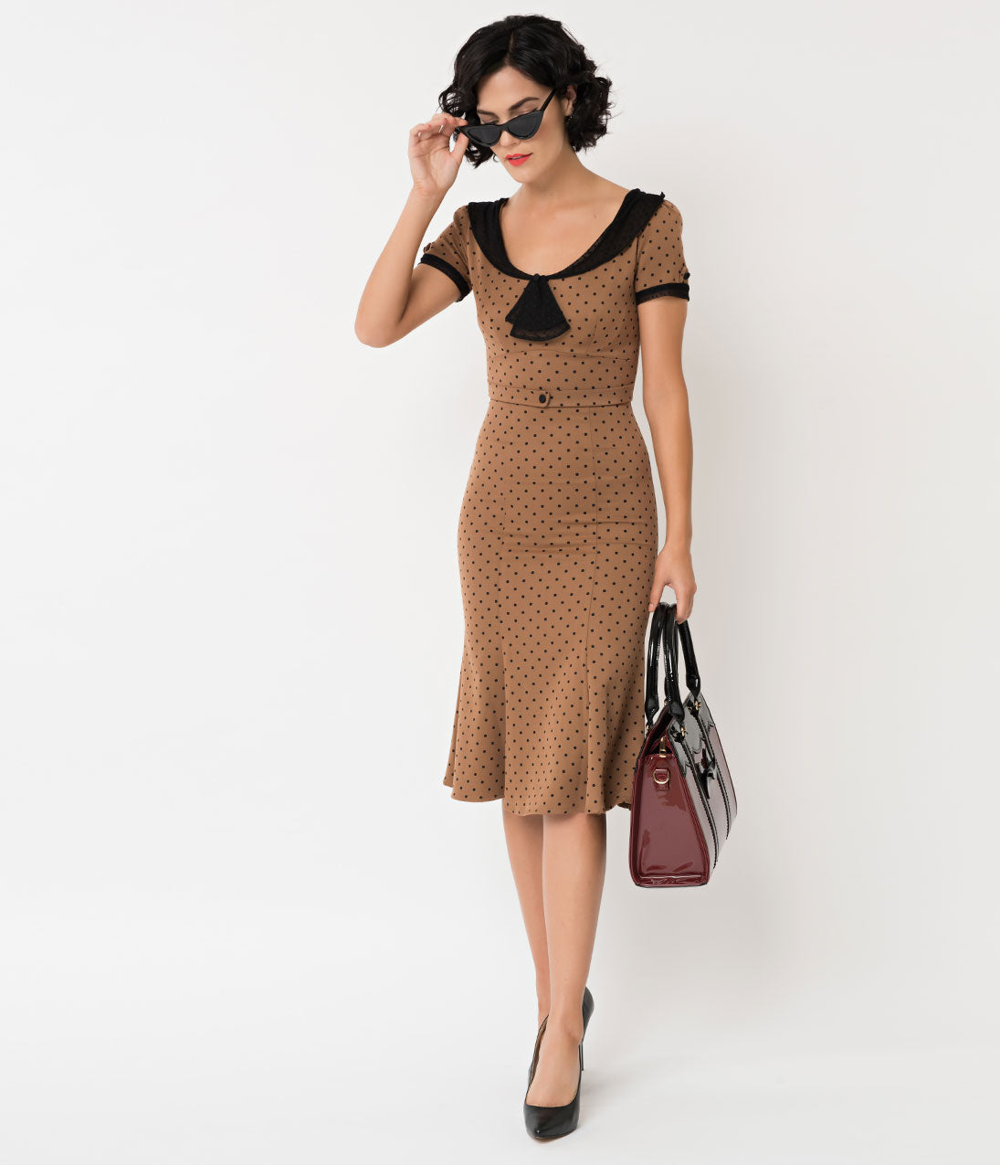 1930s Dresses | 30s Art Deco Dress Stop Staring 1930S Tan  Black Dot Railene Dress $172.00 AT vintagedancer.com