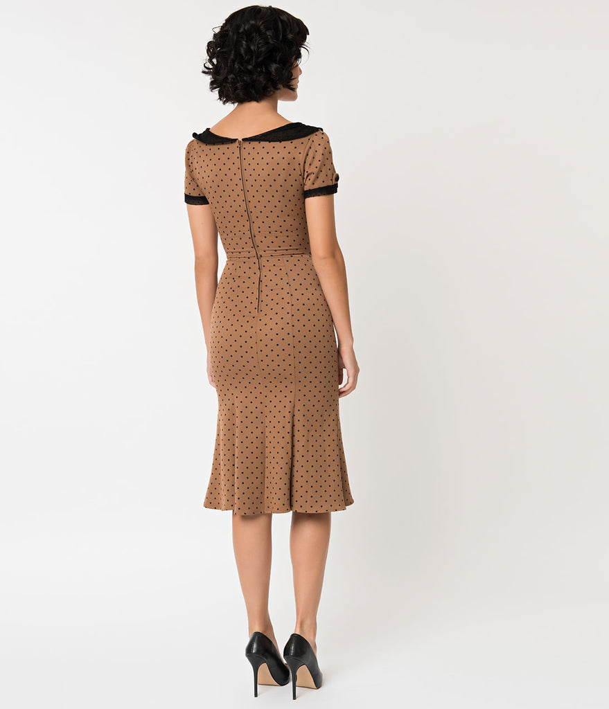 Stop Staring! 1930s Tan & Black Dot Railene Dress
