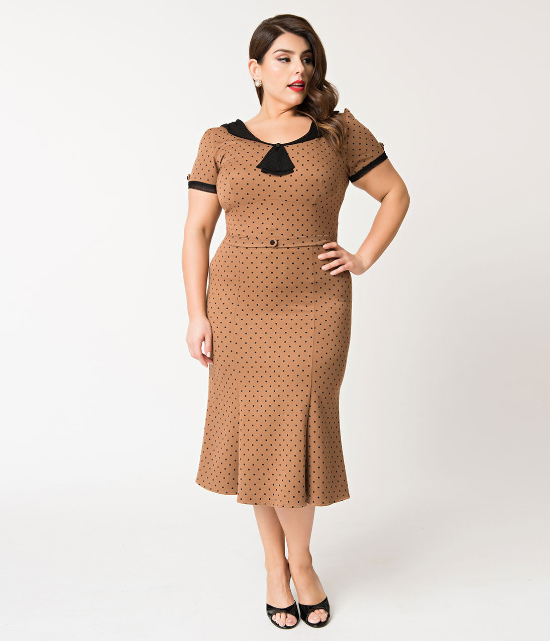 Vintage Polka Dot Dresses – 50s Spotty and Ditsy Prints Stop Staring Plus Size 1930S Tan  Black Dot Railene Dress $172.00 AT vintagedancer.com