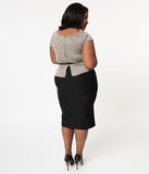 Stop Staring! Plus Size 1960s Style Tan & Black Glen Check Rivka Wiggle Dress