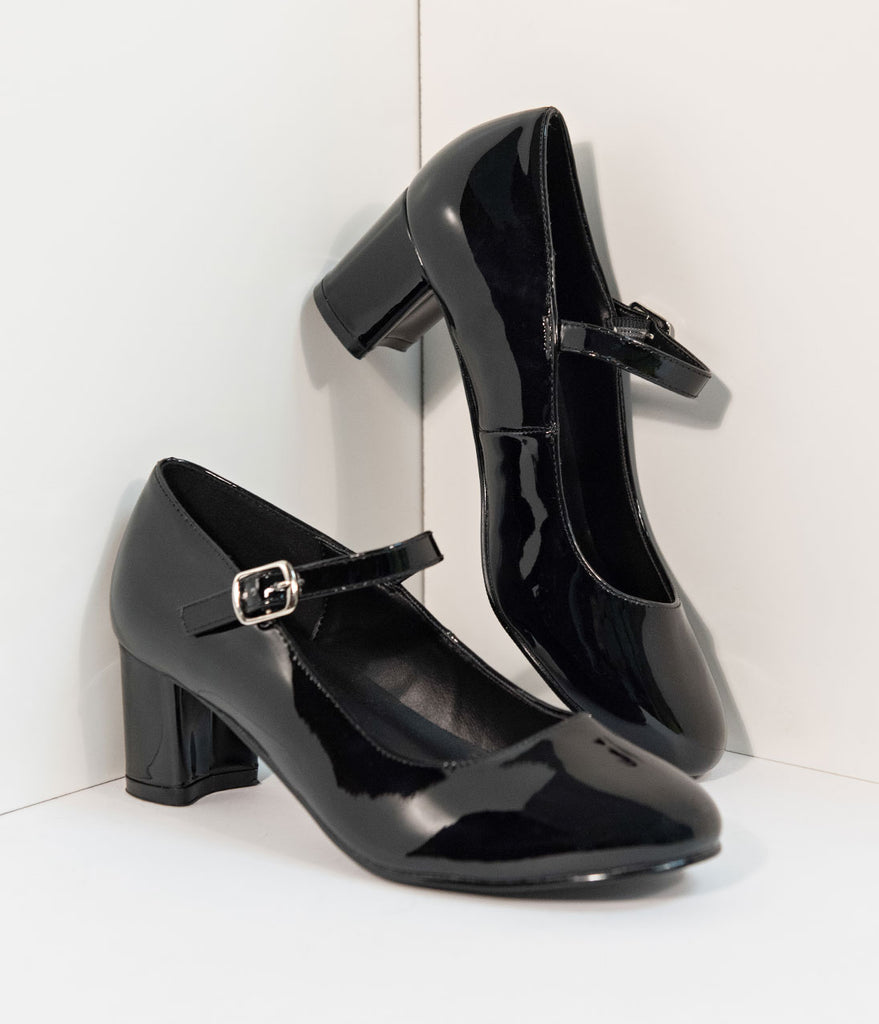 Black Patent Leather School Girl Pumps