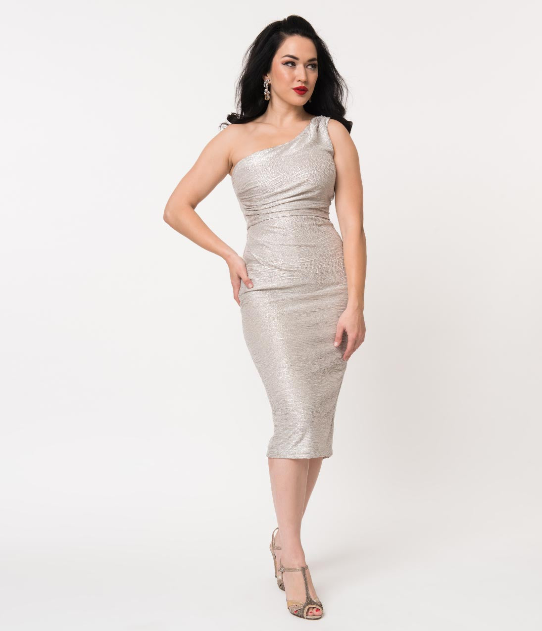 f674935430 70s Prom, Formal, Evening, Party Dresses Stop Staring Metallic Silver One  Shoulder Wiggle