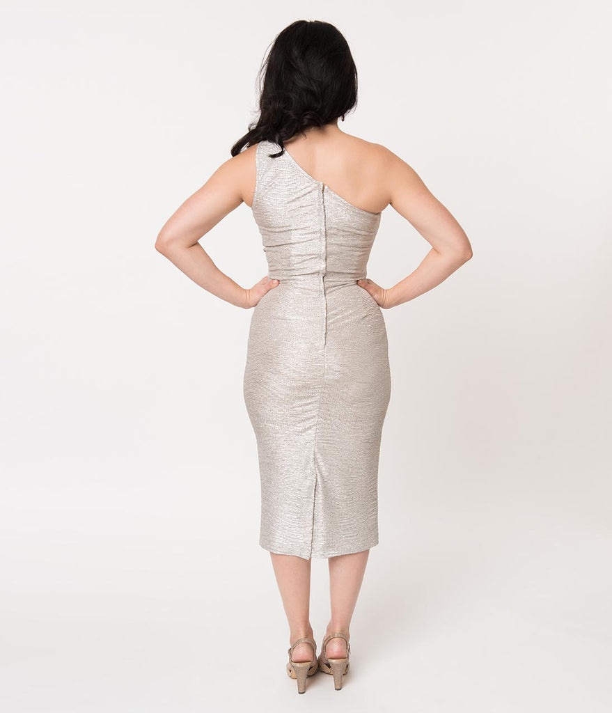 Stop Staring! Metallic Silver One Shoulder Wiggle Dress