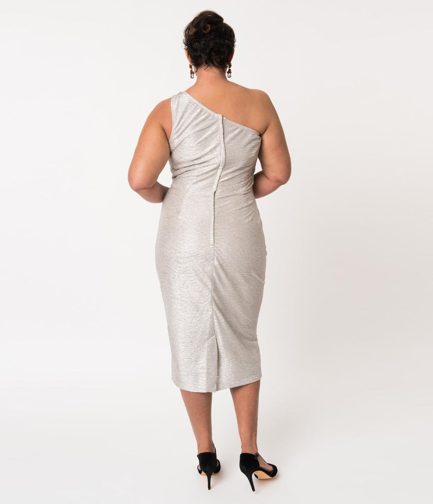 c7dedffe0efc41 Stop Staring! Plus Size Metallic Silver One Shoulder Wiggle Dress ...