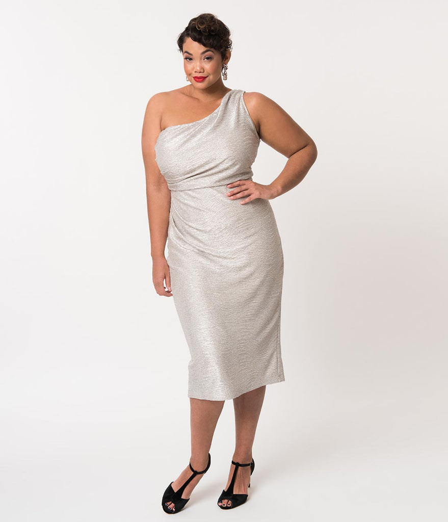 Stop Staring! Plus Size Metallic Silver One Shoulder Wiggle Dress