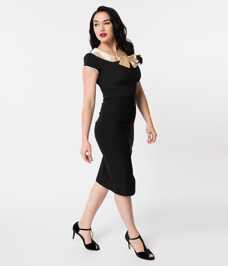 Stop Staring! 1940s Style Black & Cream Bow Wiggle Holiday Dress