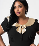 Stop Staring! Plus Size 1940s Style Black & Cream Bow Von Sweet Wiggle Dress