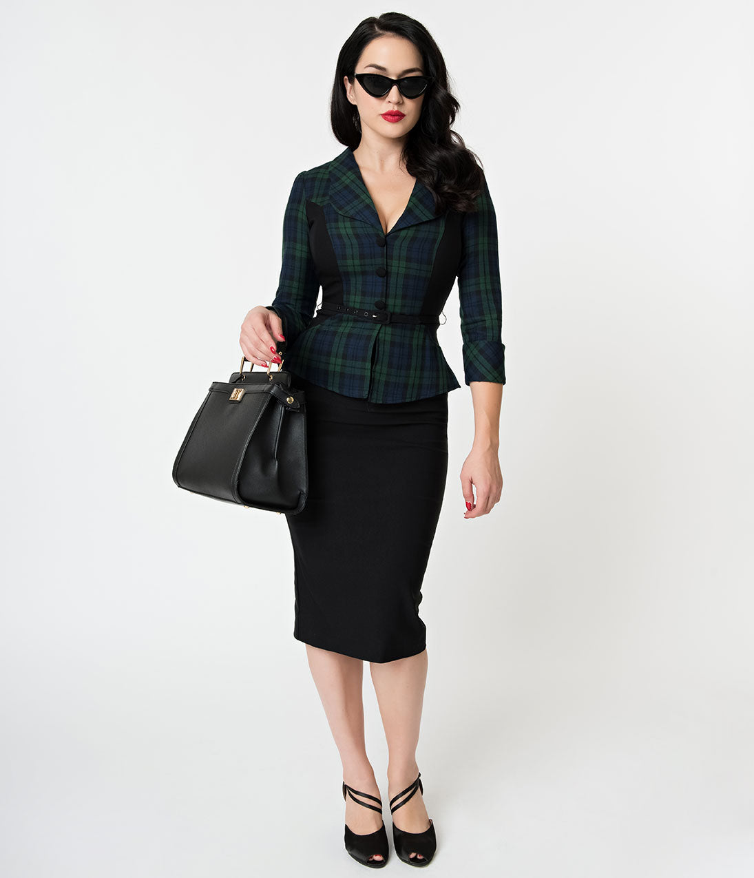 Women's 1940s Victory Suits and Utility Suits Stop Staring 1940S Navy  Emerald Plaid Sleeved Suit Wiggle Dress $188.00 AT vintagedancer.com