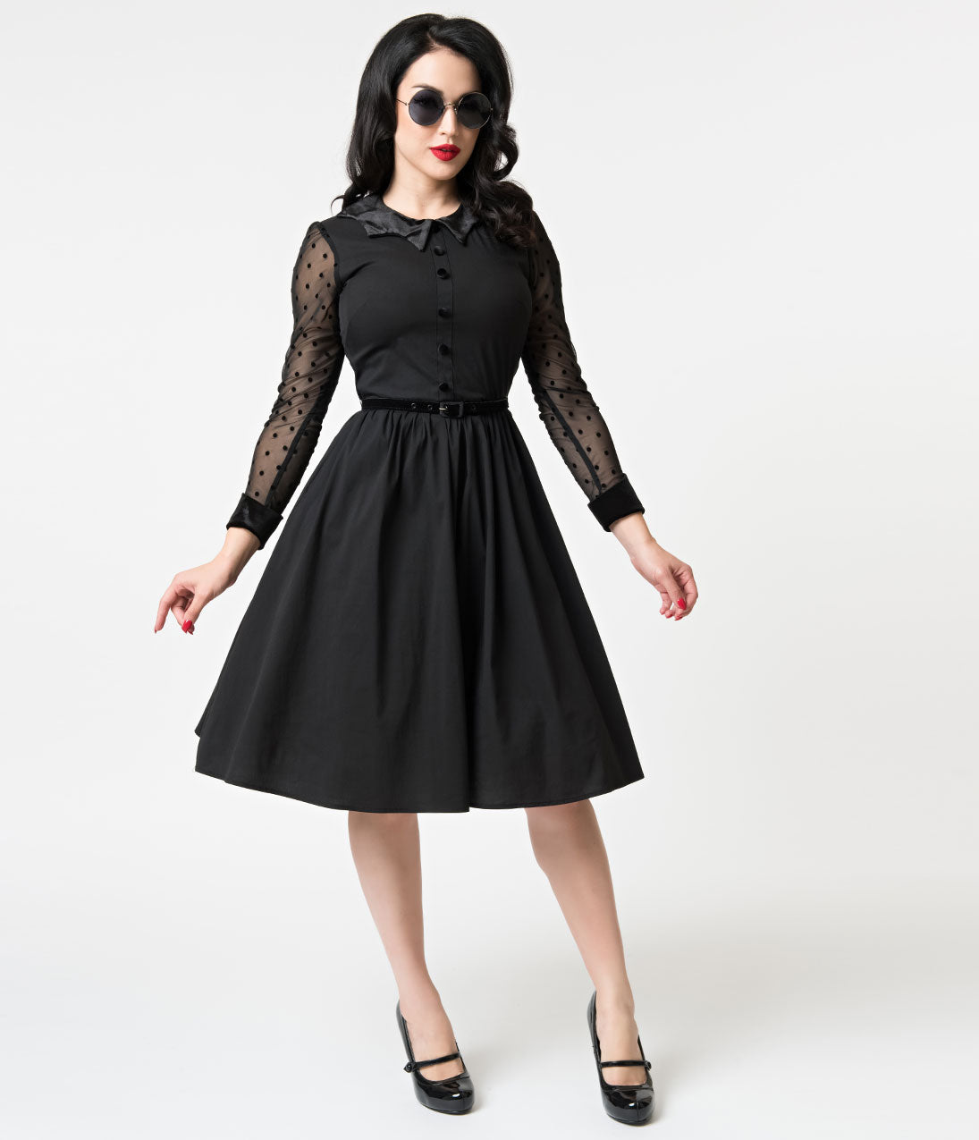 50 Vintage Halloween Costume Ideas Folter Black Cotton Mesh Long Sleeve Nocturnal Swing Dress $98.00 AT  sc 1 st  Vintage Dancer & 50 Vintage Halloween Costume Ideas