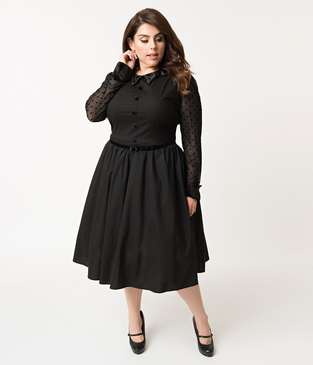 1950s Plus Size Dresses, Clothing and Costumes Folter Plus Size Black Cotton  Mesh Long Sleeve Nocturnal Swing Dress $74.00 AT vintagedancer.com