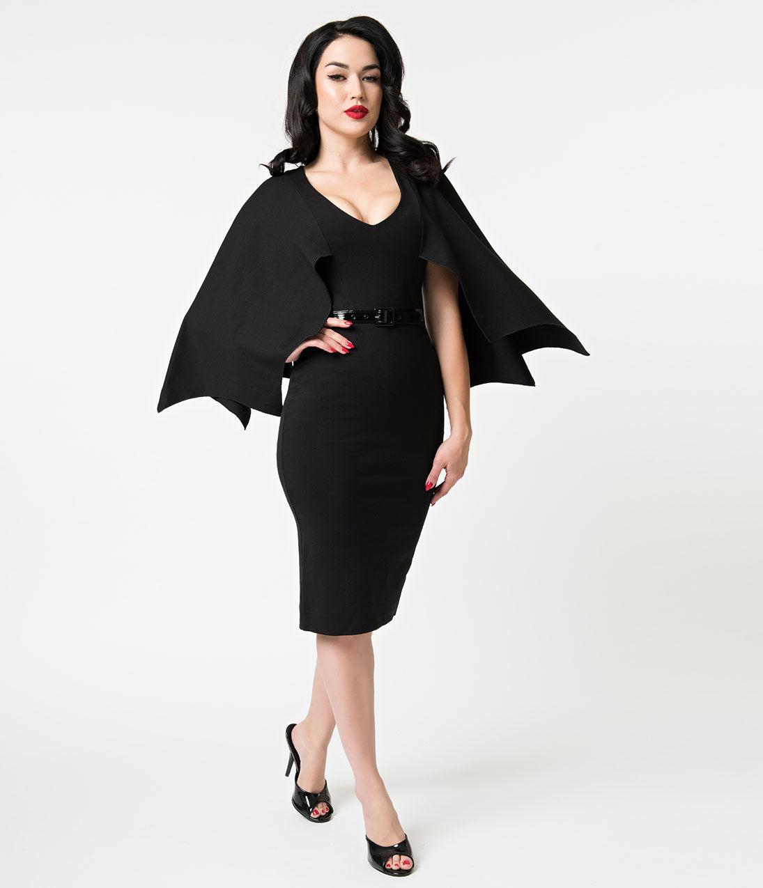 Vintage Retro Halloween Themed Clothing Folter Black Sleeved Creature Of The Night Wiggle Dress $59.00 AT vintagedancer.com