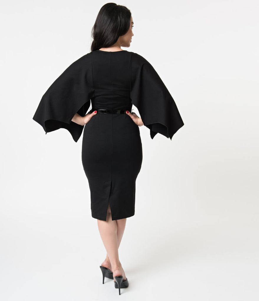 Folter Black Sleeved Creature Of The Night Wiggle Dress