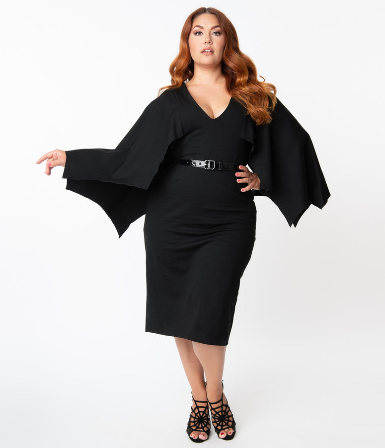 Retrolicious Plus Size Black Sleeved Creature Of The Night Wiggle Dress