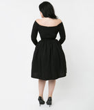 Vixen By Micheline Pitt Black Sleeved Starlet Swing Dress