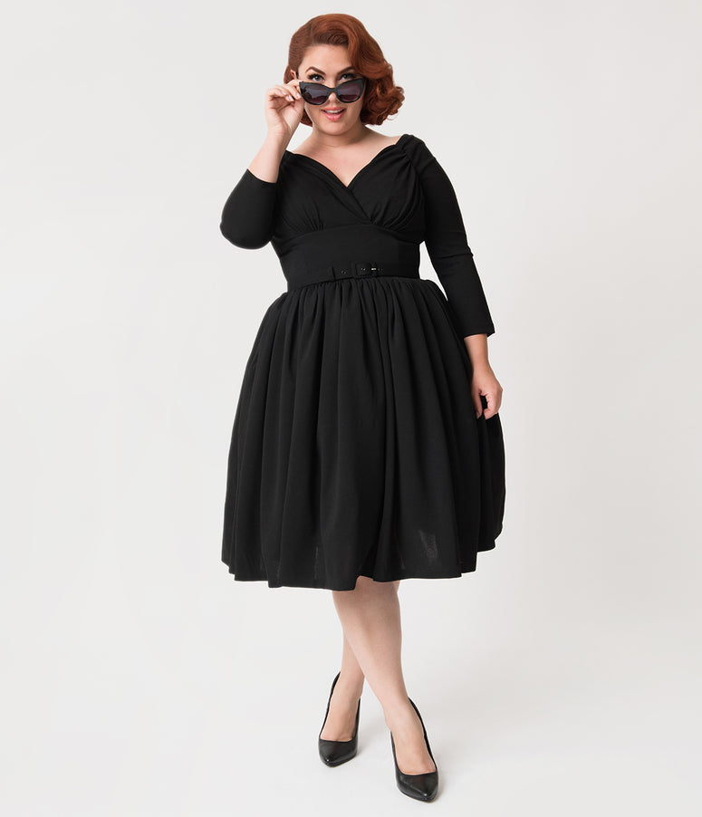 Vixen By Micheline Pitt Plus Size Black Sleeved Starlet Swing Dress