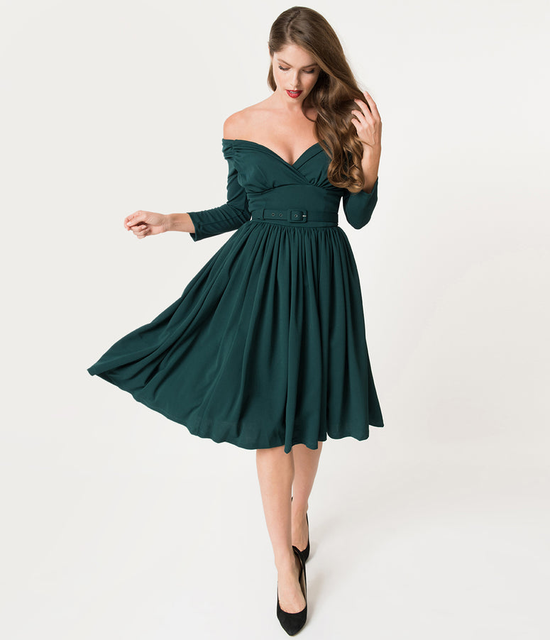 Vixen By Micheline Pitt Forest Green Sleeved Starlet Swing Dress